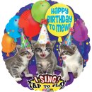 Singender Folienballon Happy Birthday KATZEN ø71 cm...