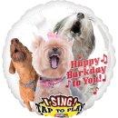 Singender Luftballon Happy Birthday Hunde Folie ø71cm
