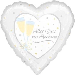 Luftballon Alles Gute zur Hochzeit Gläßer Folie ø45cm