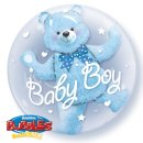 Ballon im Ballon BÄR Baby Boy blau ø60 cm DOUBLE BUBBLE...