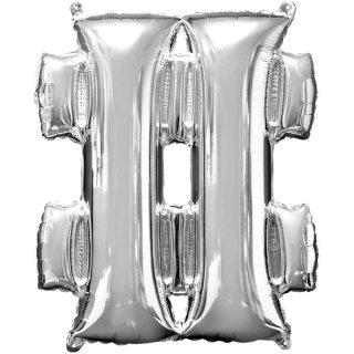 Luftballon Symbol # Silber Folie ca 35cm
