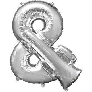 Luftballon Symbol & Silber Folie ca 35cm