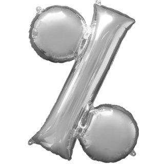 Luftballon Symbol % Silber Folie ca 35cm