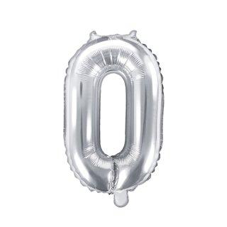 Luftballon Zahl 0 Silber Folie ca 35cm