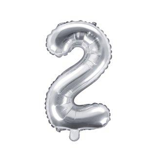 Luftballon Zahl 2 Silber Folie ca 35cm