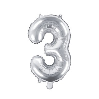 Luftballon Zahl 3 Silber Folie ca 35cm