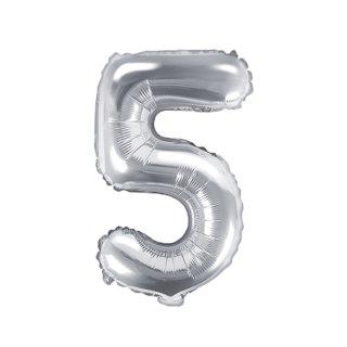 Luftballon Zahl 5 Silber Folie ca 35cm