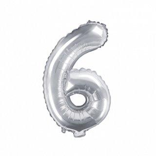 Luftballon Zahl 6 Silber Folie ca 35cm