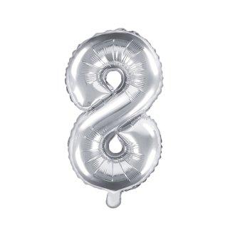 Luftballon Zahl 8 Silber Folie ca 35cm