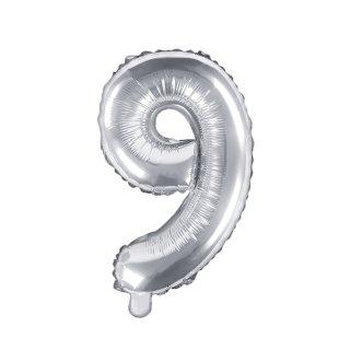 Luftballon Zahl 9 Silber Folie ca 35cm
