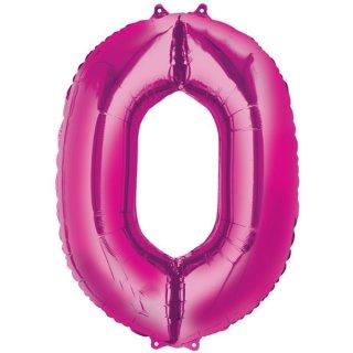 Luftballon Zahl 0 Pink Folie ca 86cm
