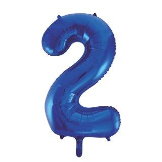 Luftballon Zahl 2 Blau Folie ca 86cm