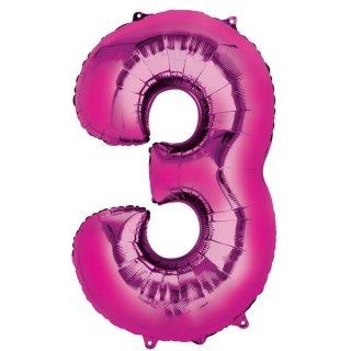Luftballon Zahl 3 Pink Folie ca 86cm