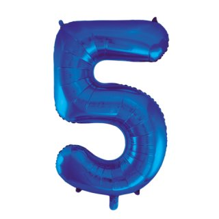 Luftballon Zahl 5 Blau Folie ca 86cm