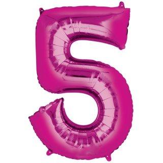 Luftballon Zahl 5 Pink Folie ca 86cm