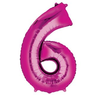 Luftballon Zahl 6 Pink Folie ca 86cm