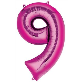 Luftballon Zahl 9 Pink Folie ca 86cm