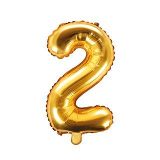 Luftballon Zahl 2 Gold Folie ca 35cm