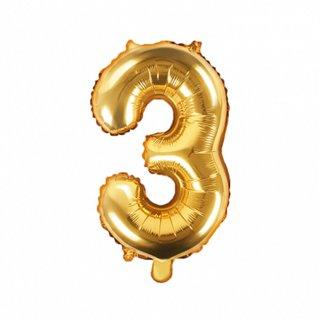 Luftballon Zahl 3 Gold Folie ca 35cm