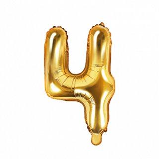 Luftballon Zahl 4 Gold Folie ca 35cm