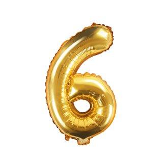 Luftballon Zahl 6 Gold Folie ca 35cm