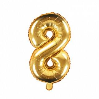 Luftballon Zahl 8 Gold Folie ca 35cm