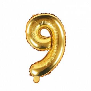 Luftballon Zahl 9 Gold Folie ca 35cm