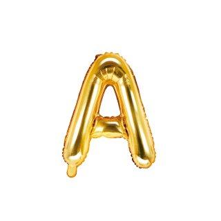 Folienballon Buchstabe A gold ca 35 cm nur für Luftfüllung ungefüllt