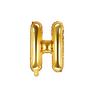 Folienballon Buchstabe H gold ca 35 cm nur für Luftfüllung ungefüllt