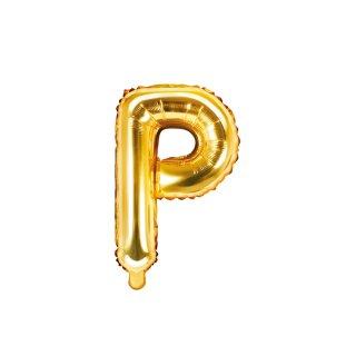 Folienballon Buchstabe P gold ca 35 cm nur für Luftfüllung ungefüllt