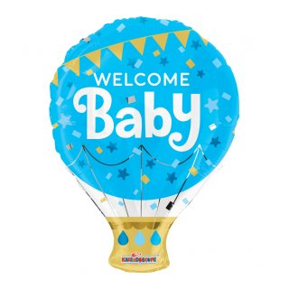 Luftballon Welcome Baby Blau Folie ø46cm