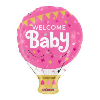 Luftballon Welcome Baby Rosa Folie ø46cm