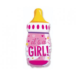 Luftballon Flasche its a Girl Rosa Folie 79cm