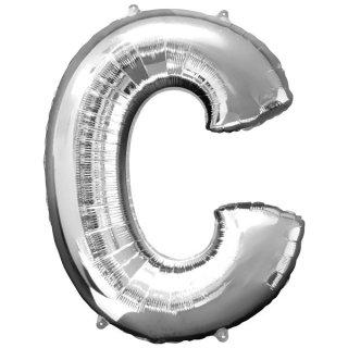 Luftballon Buchstabe C Silber Folie ca 86cm