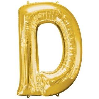Folienballon Buchstabe D gold ca 86 cm ungefüllt