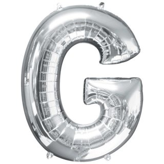 Luftballon Buchstabe G Silber Folie ca 86cm
