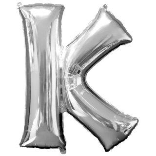 Luftballon Buchstabe K Silber Folie ca 86cm