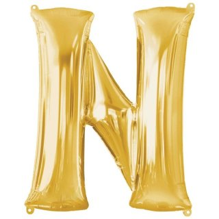 Luftballon Buchstabe N Gold Folie ca 86cm