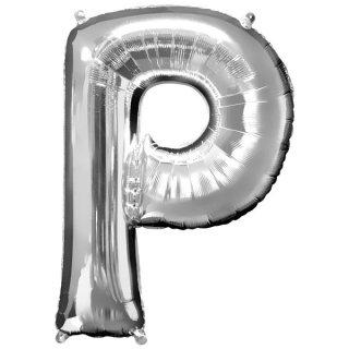 Luftballon Buchstabe P Silber Folie ca 86cm