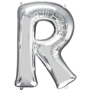 Luftballon Buchstabe R Silber Folie ca 86cm