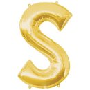 Luftballon Buchstabe S Gold Folie ca 86cm