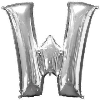 Luftballon Buchstabe W Silber Folie ca 86cm
