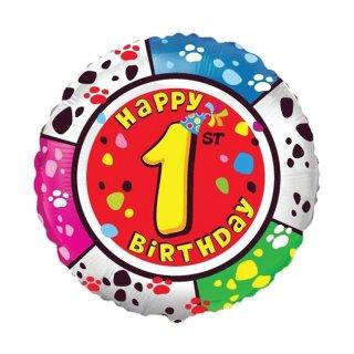 Luftballon Zahl 1 Happy Birthday Bunt Folie ø45cm