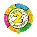 Folienballon Zahl 2 Happy Birthday bunt ø45 cm unverpackt...