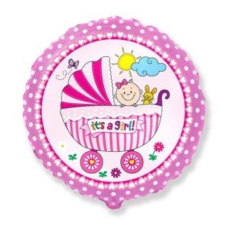 Luftballon Kinderwagen Girl Rosa Folie ø45cm
