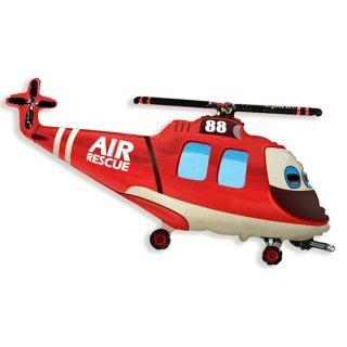 Luftballon Rettungshubschrauber Rot Folie 99cm