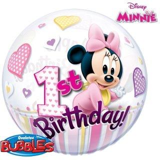 Luftballon Zahl 1 Birthday Minnie Maus Bubble Folie ø55cm