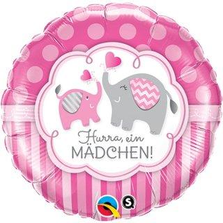 Luftballon Hurra ein Mädchen Elefanten Folie ø45cm