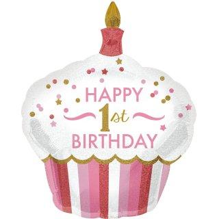 Luftballon Zahl 1 Happy Birthday Torte Rosa Folie 91cm