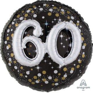 Luftballon Zahl 60 3D Effekt holographisch funkelnd Schwarz Silber Gold Folie ø91cm
